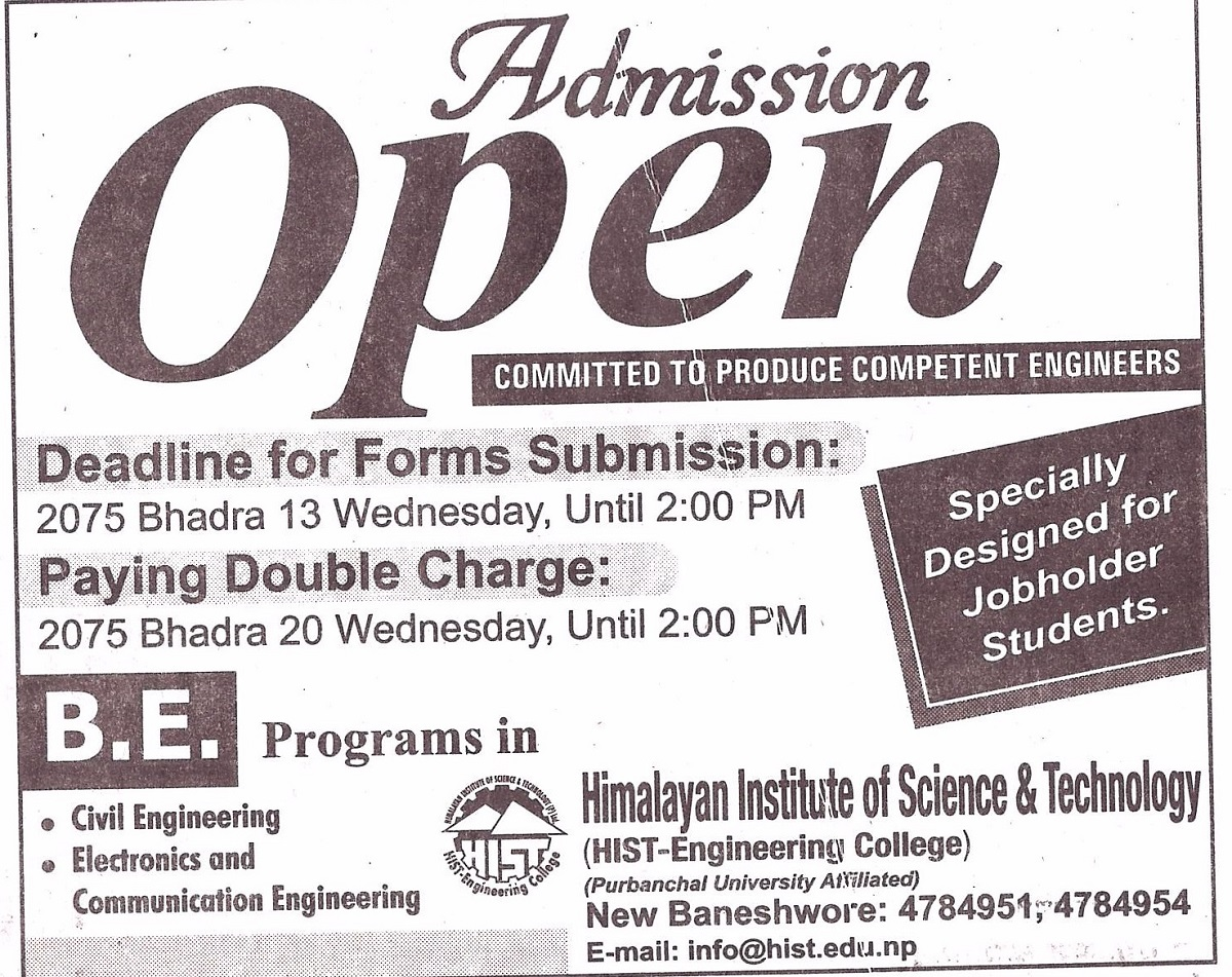 BE admission open