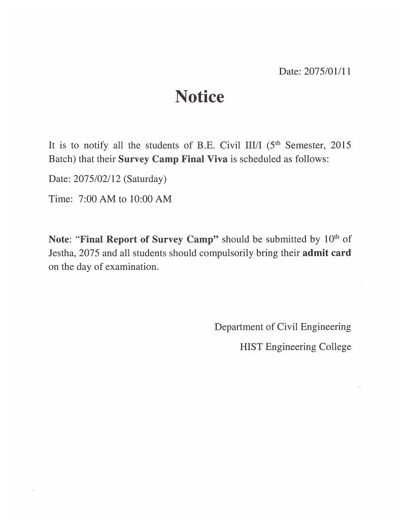 Survey camp viva notice
