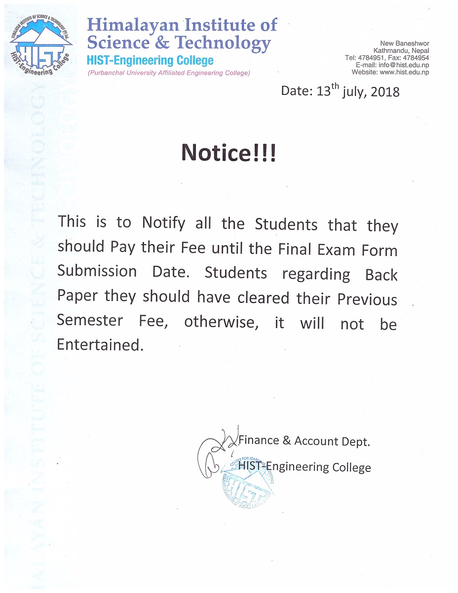 Very Important Notice to all students