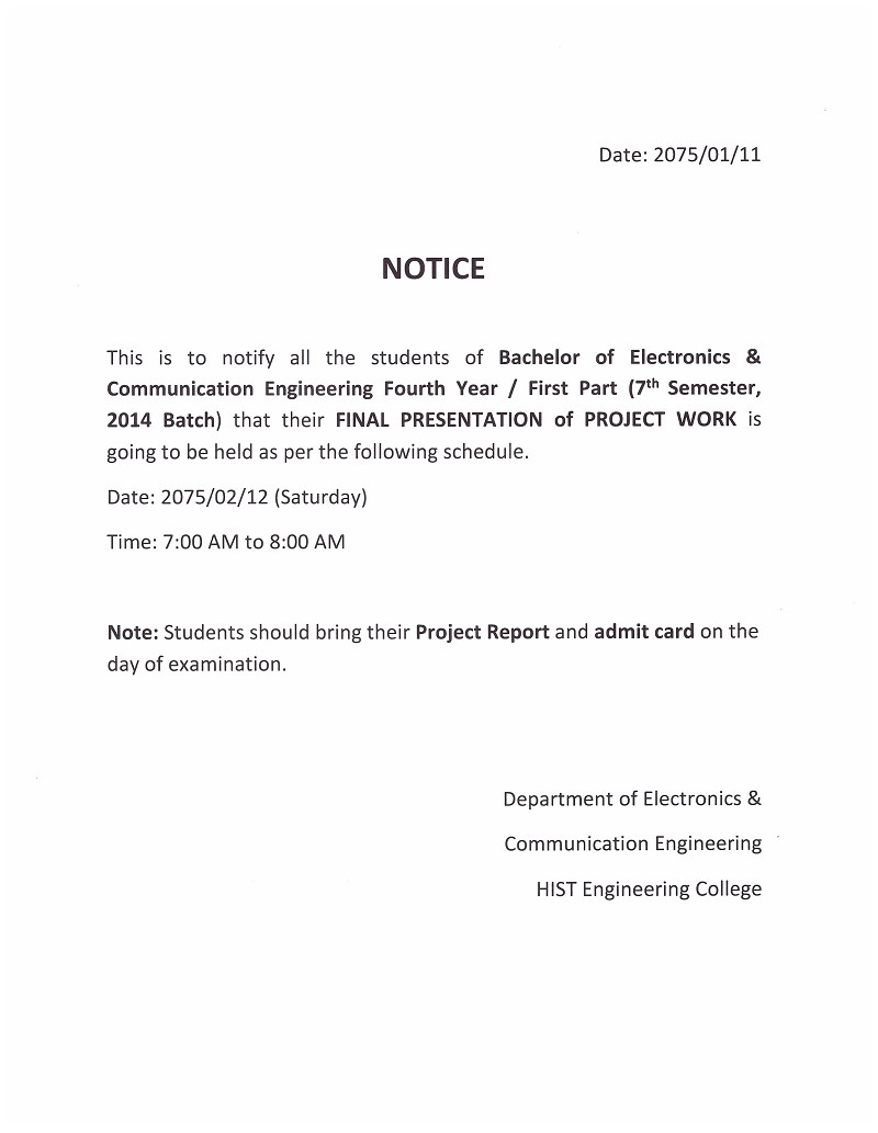 Project work presentation (Electronics) 7th sem notice